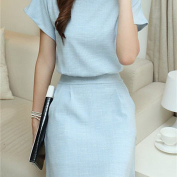Light Blue Batwing Short Sleeve Dress