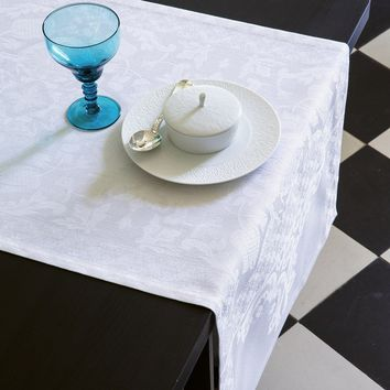 Azulejos White Table Linens by Le Jacquard Français