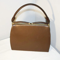 1950's Kelly Style Handbag, Brown Purse with Clasp Handle