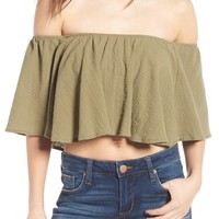 MOON RIVER Off the Shoulder Crop Top | Nordstrom