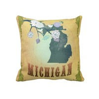 Vintage Michigan State Map- Passion Fruit Yellow Pillows