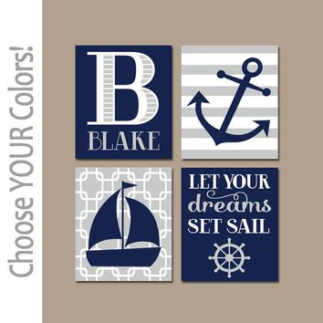 NAUTICAL Nursery Necor, NAUTICAL Wall Art, CANVAS or Prints, Baby Boy Nursery Decor, Navy Gray, Sailboat Anchor, Coastal Theme, Set of 4