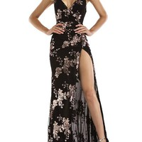 Black Floral Backless Boho Spaghetti Strap Deep V-neck Flowy Party Maxi Dress