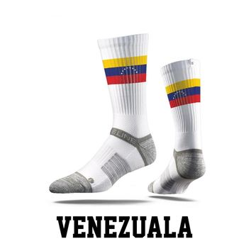 Strideline® S Collection, Venezuela Flag Crew Socks NEW