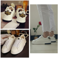 All-match Fashion Casual Embroidery Wasp Flats Shoes Sports Shoes Thick Bottom Small White Shoes