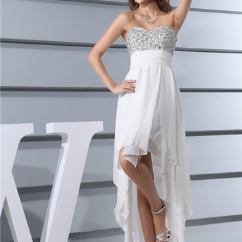 Cocktail Dresses Party Fashion Girl New Design Robe De Strapless Sexy Front Short Back Chiffon Long summer 2017 Dress