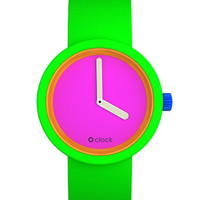 O Clock Watch 80s Neon Pink Face Fluorescent Green