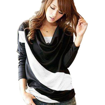Batwing Sleeve Shirts Women Patchwork Contrast Color Summer Shirt Heaps Collar Tops Clothing *35