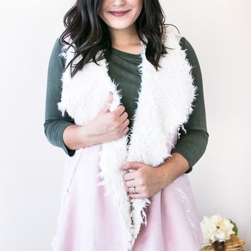 Open Book Shearling Vest- Pink
