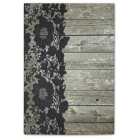 rustic chic modern girly gray barn wood black lace post-it® notes