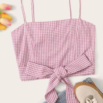 Gingham Print Knotted Hem Crop Cami Top