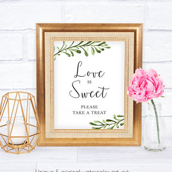 Love is Sweet Wedding Signage, Rustic, Watercolor, Printable Wedding, Digital Wedding Sign, Wedding Reception Sign, Gifts Sign
