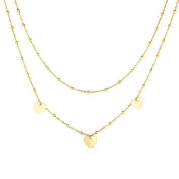 14k Yellow Gold Dangle Heart Charms Necklace, 18""