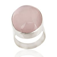 925 Sterling Silver Rose Quartz Gemstone Statement Ring