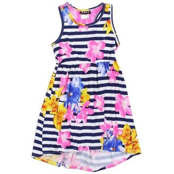Girls Flower Print Knit Dress.