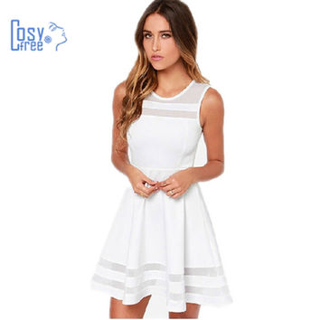 Cosyfree Summer Dress Sleeveless Casual Vestidos Solid Fit and Flare Sleeveless Women White Dress Chiffon Party Dresses