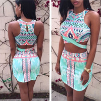 Chic Sleeveless Short Cropped Tops Mini Bodycon Skirt  Clubwear Two Piece Sets