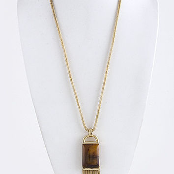 Semi Precious Stone Accent Ornate With Fringe Drop Long Necklace
