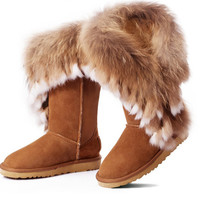 natural fox fur leather  snow boots
