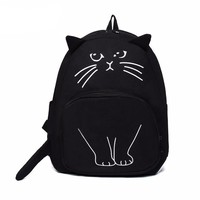 Lovely Cat Printing Backpack Women Canvas School Bag