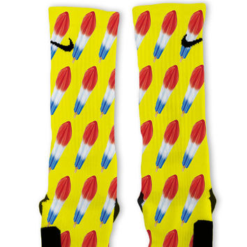 Yellow Bomb Pop Custom Nike Elite Socks