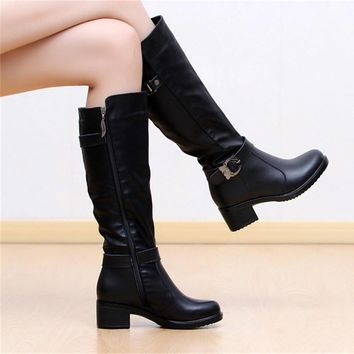Fashion Women Boots Knee High Boots Winter Warm Boots Solid Colors Riding Women Boots