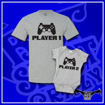 Player 1 Player 2, Fathers Day Gift, Father Son Matching Shirt, Dad and Baby Matching Shirts, Matching Outfits, T-Shirt, Shirt, Tee