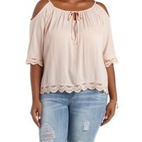 Plus Size Blush Crochet-Trim Cold Shoulder Top by Charlotte Russe