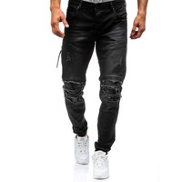 Mens Skinny Distressed Ripped-Hole Denim Ripped Biker Washed Streetwear Jeans