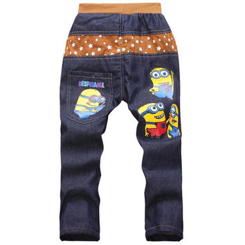 Kids Fashion Minion Clothes Boys Jeans Pants For Children Slim Jeans Casual Pants