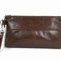 Brown Leather Clutch, Ladies Handbag, Small Leather Purse, Leather Clutch Purse, Custom Leather Purse, Leather Wristlet, Evening Clutch