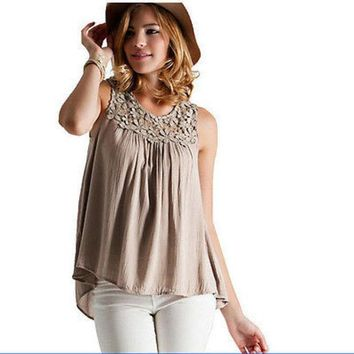 Sexy Women Vest Top Sleeveless Shirt Blouse Summer Casual Ladies Loose Tops