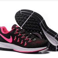 NIKE fashion casual breathable running shoes Black(pink hook)