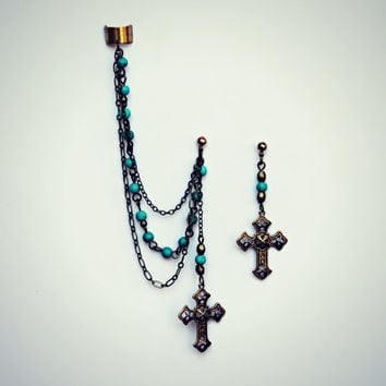 cross turquoise ear cuff, chains ear cuff, crucifix earrings, gothic earrings, boho earrings