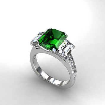 3.21ct emerald cut green tourmaline engagement ring, white sapphire ring, white gold, unique, green engagement, trinity, sapphire, wedding
