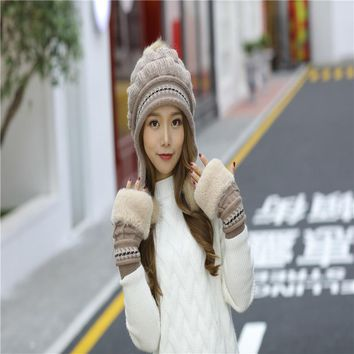 NEW Thicken Ski Cap New Brand Fur PomPoms Winter Sweet Knitted Hats Women Hat Female Warm Gloves + knit hat