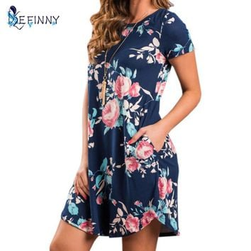Summer O Neck Women Mini Dress Floral Print Short Sleeve Dresses Party Vestido