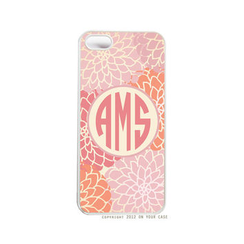 Monogrammed iPhone 5 Case Warm Floral Personalized Case