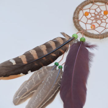 Car Dream Catcher, Small Dreamcatcher AGATE Stone, Pheasant feathers, Mini Natural Dreamcatcher,  Car Mirror Charm.