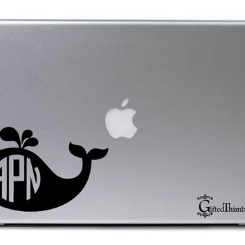Personalized Whale Monogram Decal / Whale Monogram Car Decal / Whale Macbook Decal / Macbook Sticker / Laptop Decal / Laptop Sticker