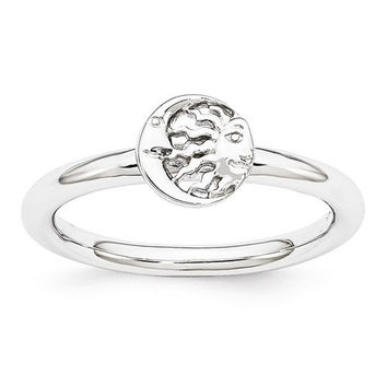 Sterling Silver Stackable Expressions Rhodium Sun/Moon Ring