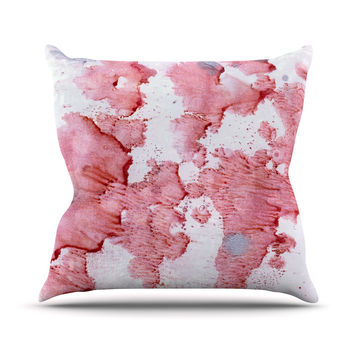 "Iris Lehnhardt ""Soft Pink Splashes"" Red White Throw Pillow"