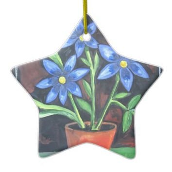 Blue Flowers Double-Sided Star Ceramic Christmas Ornament