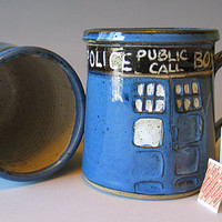 MADE TO ORDER - Tardis Mug - Pottery Mug - Handmade - Doctor Who mug - Dr. Who Inspired