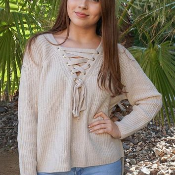 Crush On You Beige Knit Lace-Up Sweater
