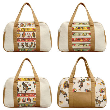 Women's African Traditional Patterns Printed Canvas Duffel Travel Bags WAS_19