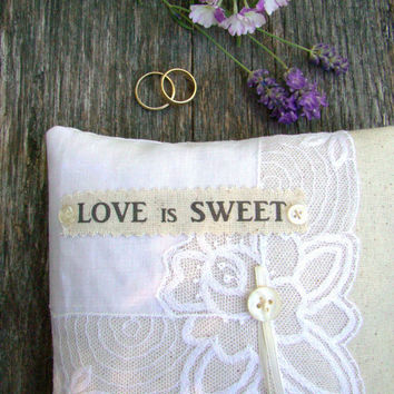 Ring Bearer Pillow, Lace One of a kind Pillow, Ivory and White Rustic Styled with a Vintage White Handkerchief Overlay