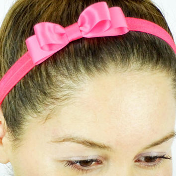 Baby Headband Womens Hair Accessories HOT PINK Girls Headband Elastic Headband stretchy headband Women's Headband Baby Hair Bows small bow