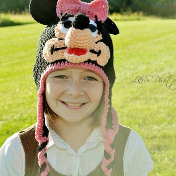 Crochet Inspired Minnie Mickey Mouse earflap  - MADE TO ORDER