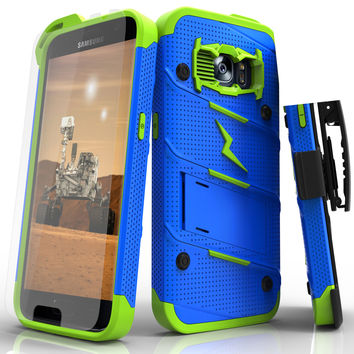 Samsung Galaxy S7 Case - [BOLT] Heavy Duty Cover w/ Kickstand, Holster, Tempered Glass Screen Protector & Lanyard [Blue/ Neon Green]
